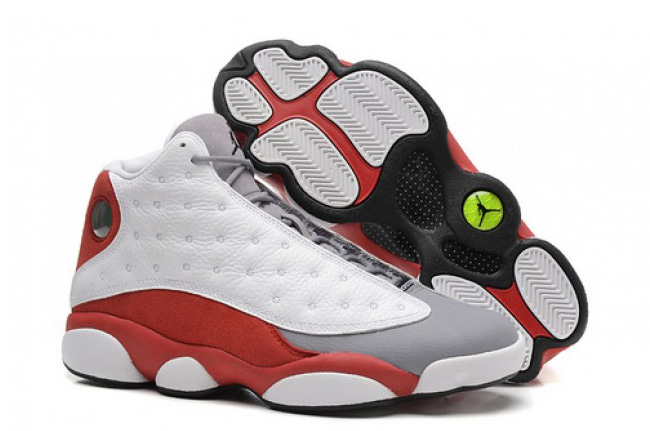 2014 Air Jordan 13 Retro Grey Toe White Black True Red Cement Grey