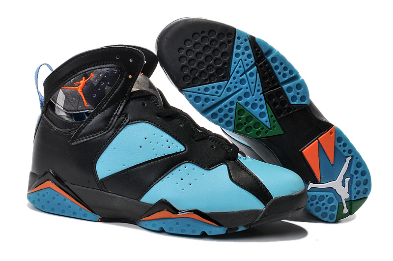 2015 Air Jordan 7 Black Blue Orange Shoes