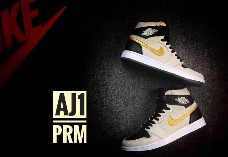 2016 Air Jordan 1 High PRM Pearl White Metallic Gold Shoes