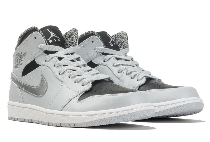 2016 Air Jordan 1 Mid Pure Platinum Metallic Silver Black White Shoes