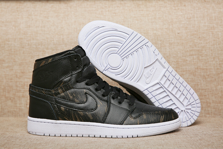 2016 Air Jordan 1 Retro High Black Gold Wings Shoes