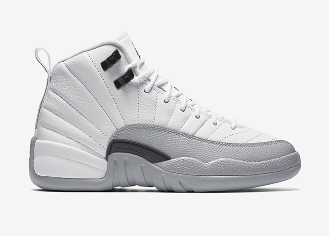 2016 Air Jordan 12 Barons White Black Wolf Grey Shoes