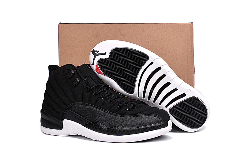 2016 Air Jordan 12 Black Nylon Black White Gym Red Shoes