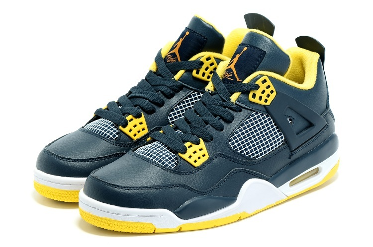 New Air Jordan 4 Spring Dark Blue Yellow Shoes