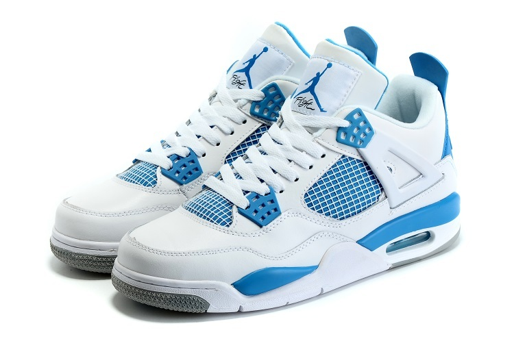 New Air Jordan 4 Spring White Blue Grey Shoes