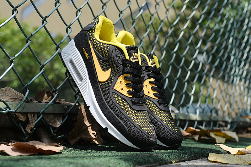 2016 Nike Air Max 90 Black Yellow White Shoes