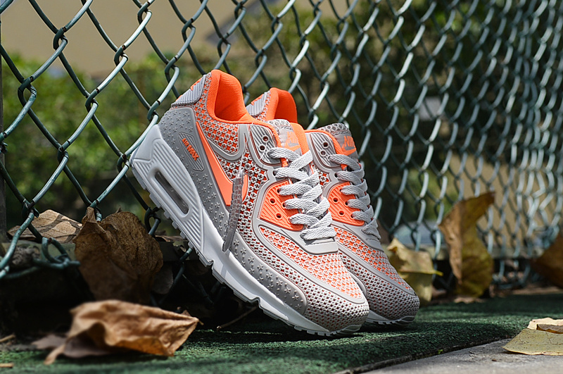 2016 Women Nike Air Max 90 Grey Orange Shoes