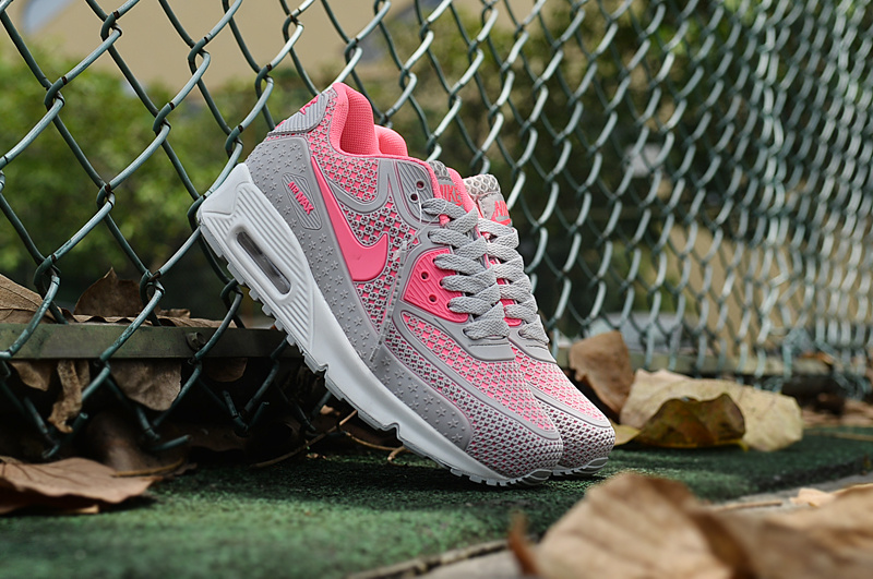 2016 Women Nike Air Max 90 Grey Pink White Shoes