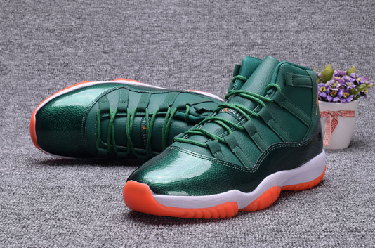 2017 Air Jordan 11 GS Miami Hurricane PE Shoes