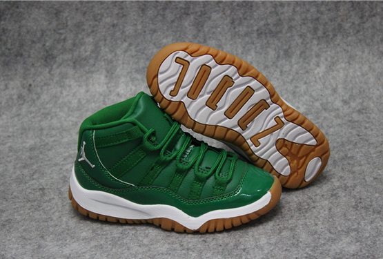2017 Air Jordan 11 Green White Kids Shoes