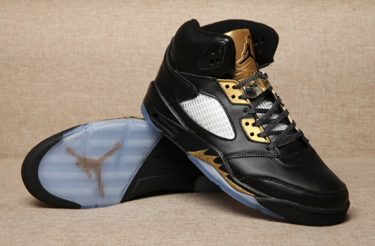 2017 Air Jordan 5 Olympic Black Metallic Gold Shoes