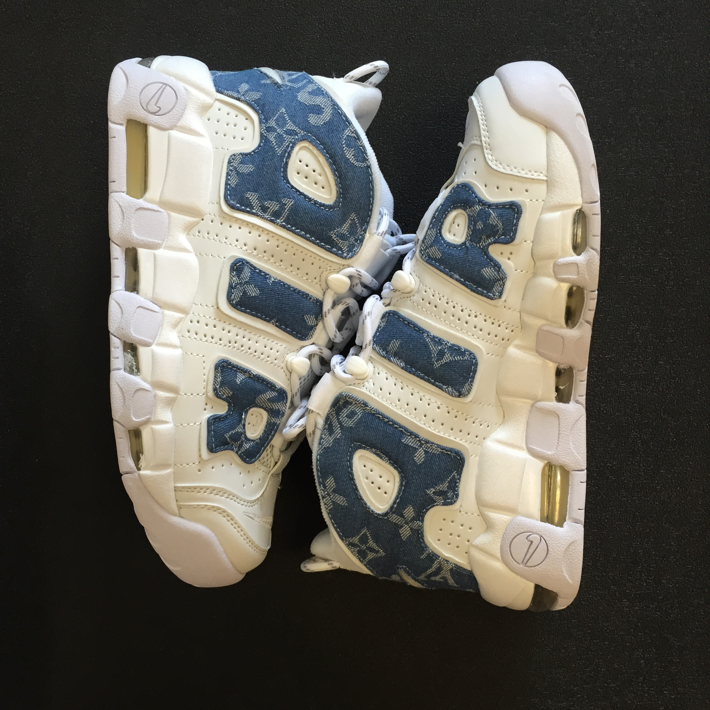 2017 Men Louis vuitton x Supreme x Nike Air More Uptempo White Blue Shoes