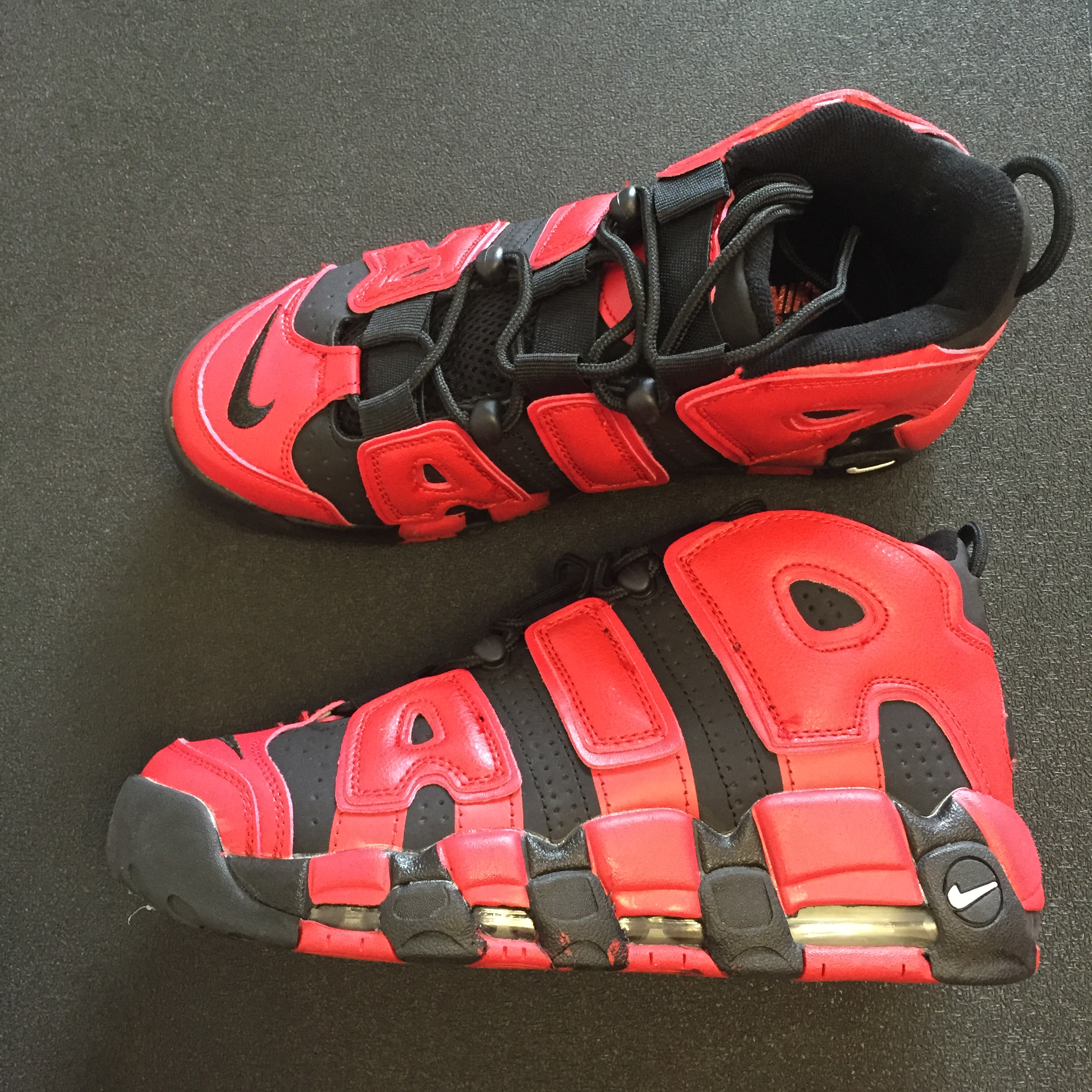 2017 Men Nike Air More Uptempo QS Red Black Shoes
