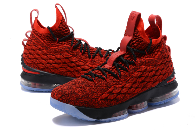 2017 Men Nike Lebron 15 Fire Red Black Shoes