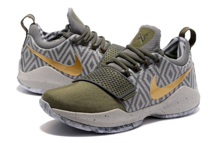 2017 Men Nike PG 1 Army Green Gold Grey Shoes