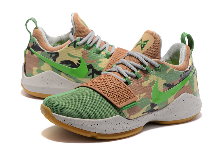 2017 Men Nike PG 1 Green Camo Shoes