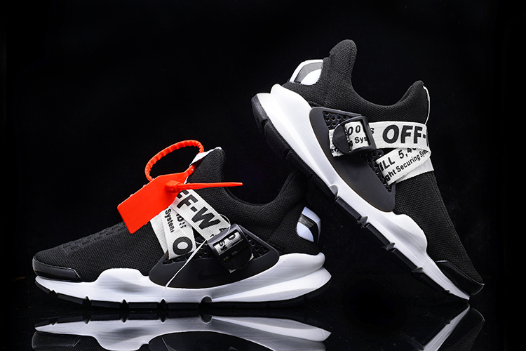 2017 Men Off White x Nike Sock Dart Black White Shoes