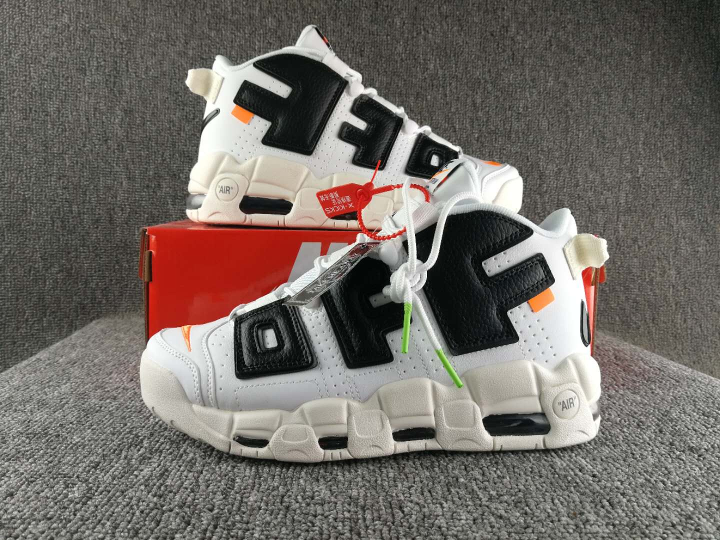 2017 OFF White Nike AIR Uptempo White Black Orange Shoes