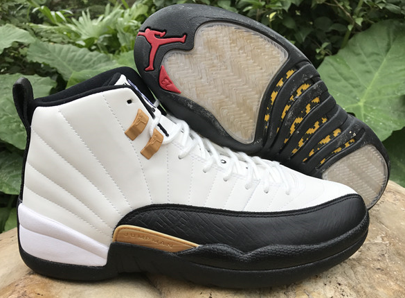 2017 Jordan 12 Retro Chinese New Year White Black Gold Shoes