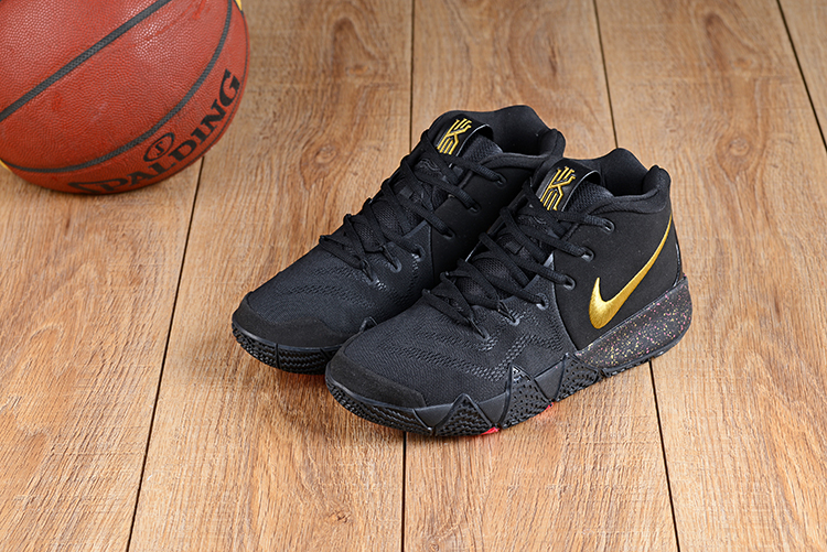 2018 Men Nike Kyrie Irving 4 Black Gold Basketball Shoes