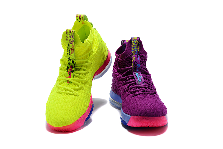 2018 Men Nike Lebron 15 Purple Fluorscent Green Shoes