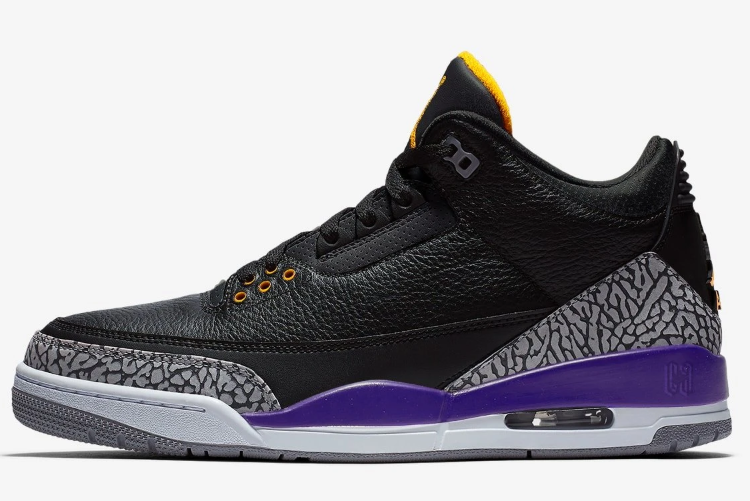 Cheap Jordan 3 Kobe Bryant PE Black Cement Grey Court Purple Yellow Shoes