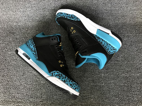 Air Jordan 3 GS Black Metallic Gold Rio Teal White Shoes