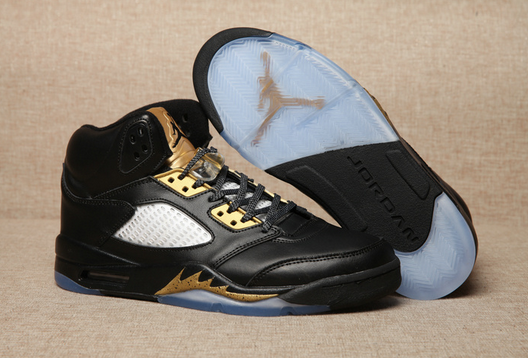 Air Jordan 5 Black Olympic Gold Medal Shoes