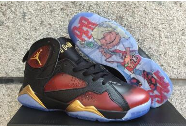 Air Jordan 7 Doernbecher Black University Red Metallic Gold Shoes