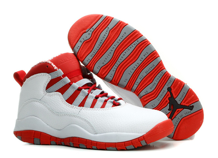 Air Jordan 10 X Retro White Varsity Red Light Steel Grey