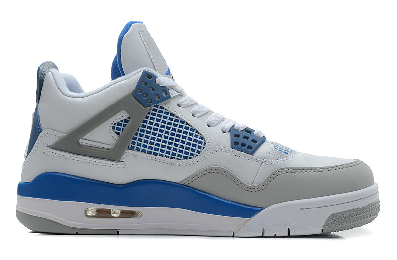 Air Jordan 4 Retro White Military Blue Neutral Grey