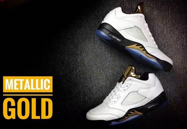 Air Jordan 5 Low White Metallic Gold Shoes