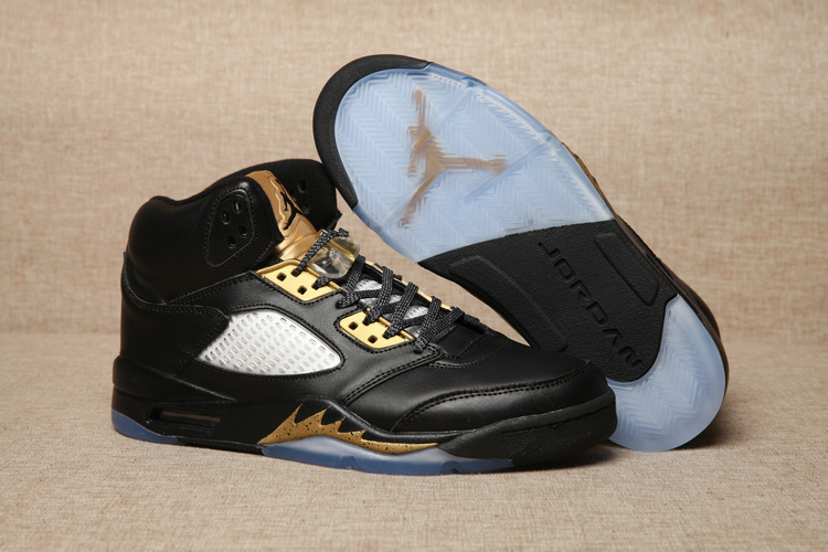 Air Jordan 5 Retro Black Metallic Gold Shoes