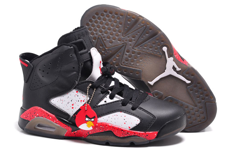 Air Jordan 6 VI Custom Angry Birds Black White Red Specked