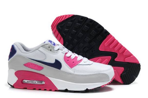 Nike Air Max 90 Shoes White Cool Grey Obsidian Rose Boutique M9F