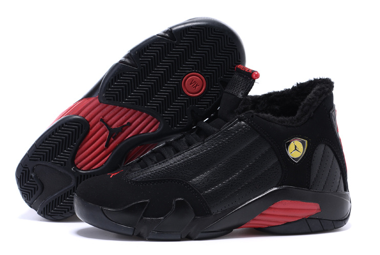 Air Jordan 14 Shoes 2015 Womens With Velvet Black Red