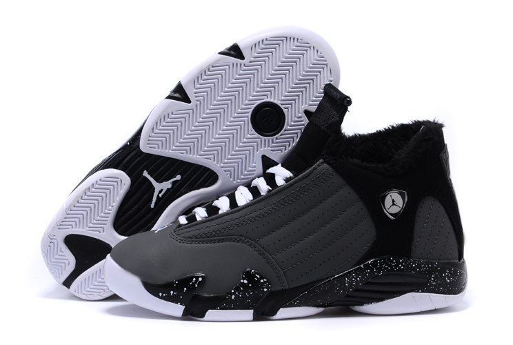 Air Jordan 14 Shoes 2015 Womens With Velvet Black White