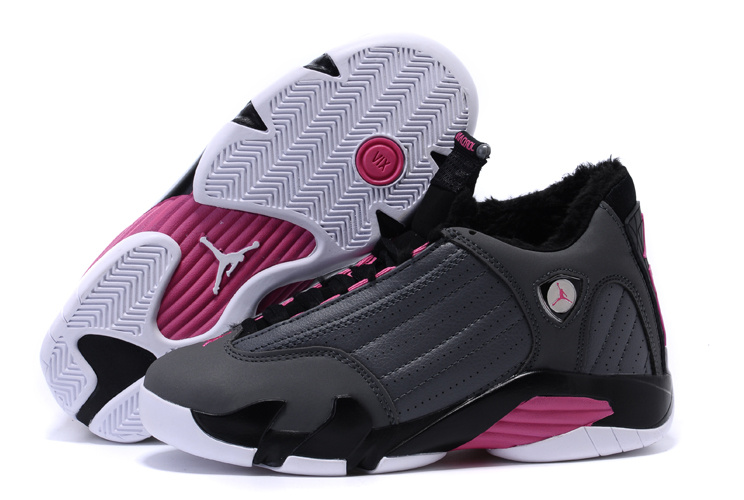 Air Jordan 14 Shoes 2015 Womens With Velvet Grey White Pink