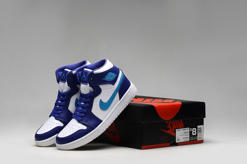 Air Jordan 1 Shoes 2015 Mens White Purple Blue