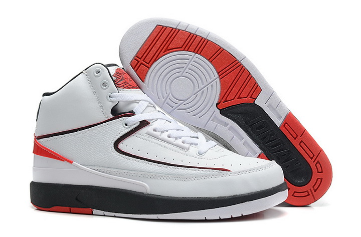 Air Jordan 2 Shoes 2013 Mens Engraved Version White Red Black