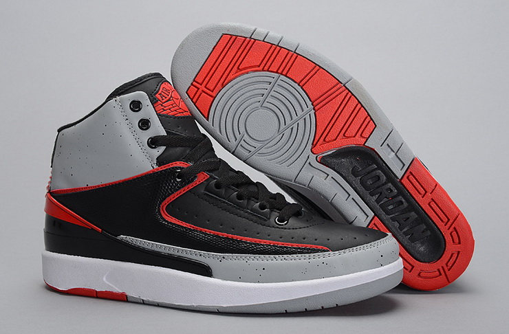 Air Jordan 2 Shoes 2014 Mens Black Grey Red