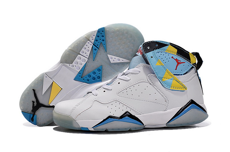 Air Jordan 7 Shoes 2015 Mens White Blue Yellow
