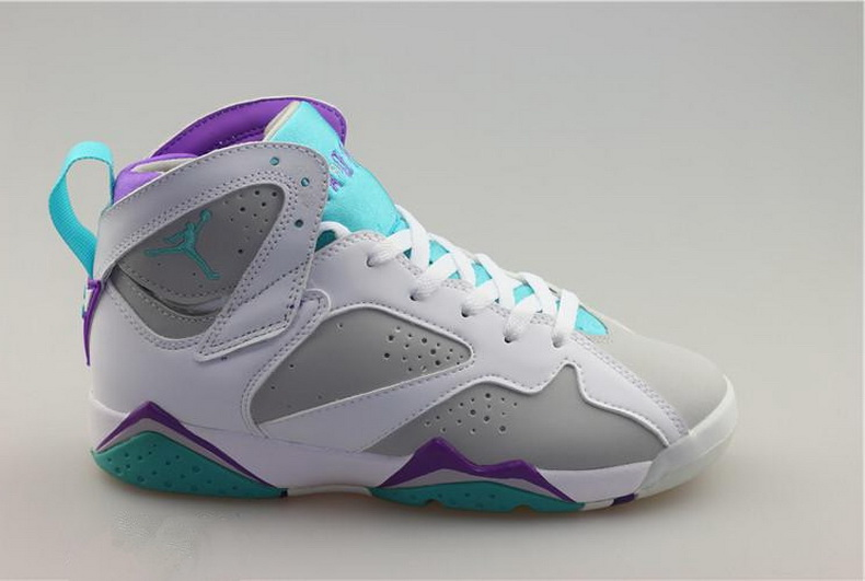 Air Jordan 7 Shoes 2015 Womens Grey White Purple Blue