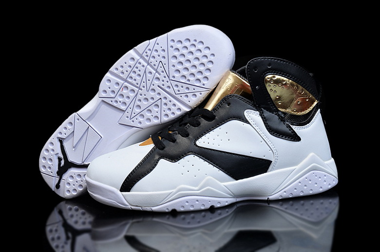 Air Jordan 7 Shoes 2015 Womens White Black Gold