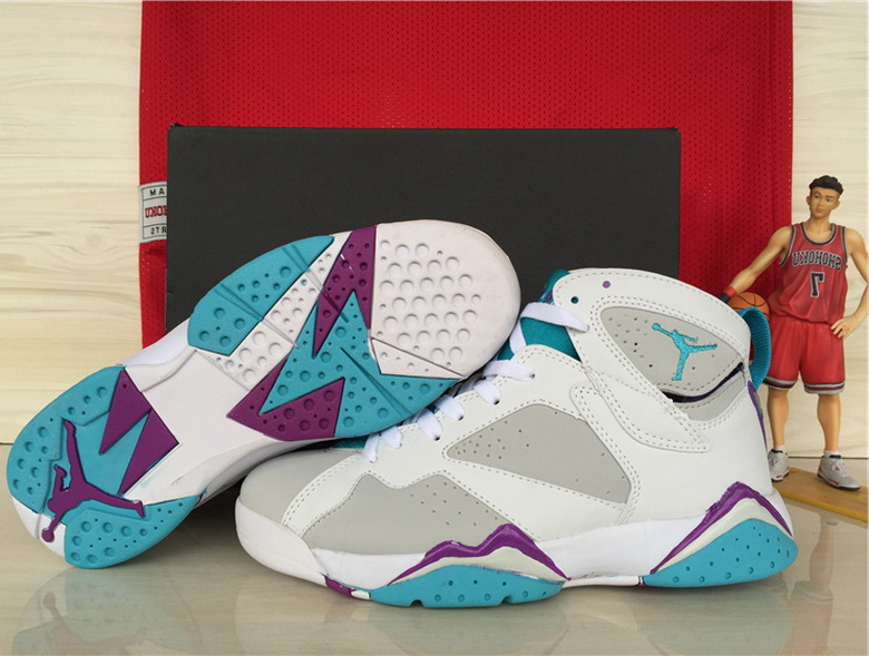 Air Jordan 7 Shoes 2015 Womens White Grey Purple