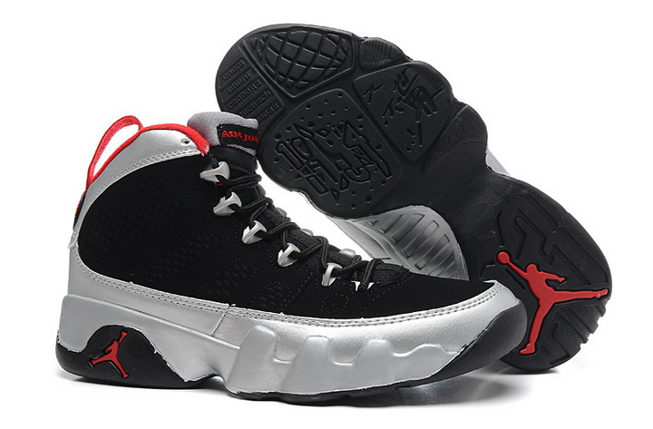 Air Jordan 9 Shoes 2014 Womens Black Silver Red
