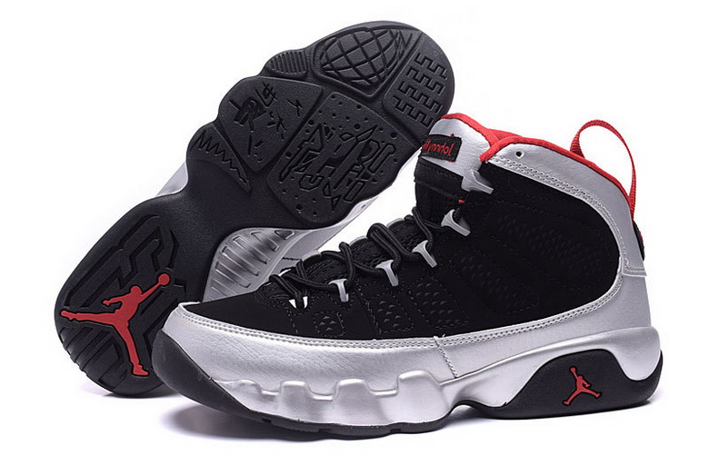Air Jordan 9 Shoes 2015 Womens Black Silver