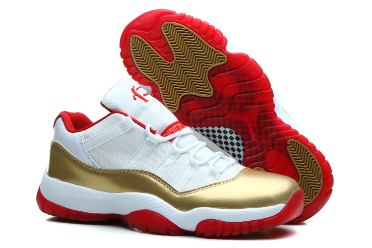 Air Jordan 11 Retro Low Two Rings White Metal Gold Varsity Red