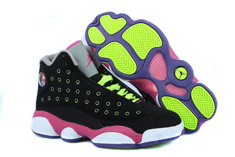 Girls Air Jordan 13 Black Pink Venom Green