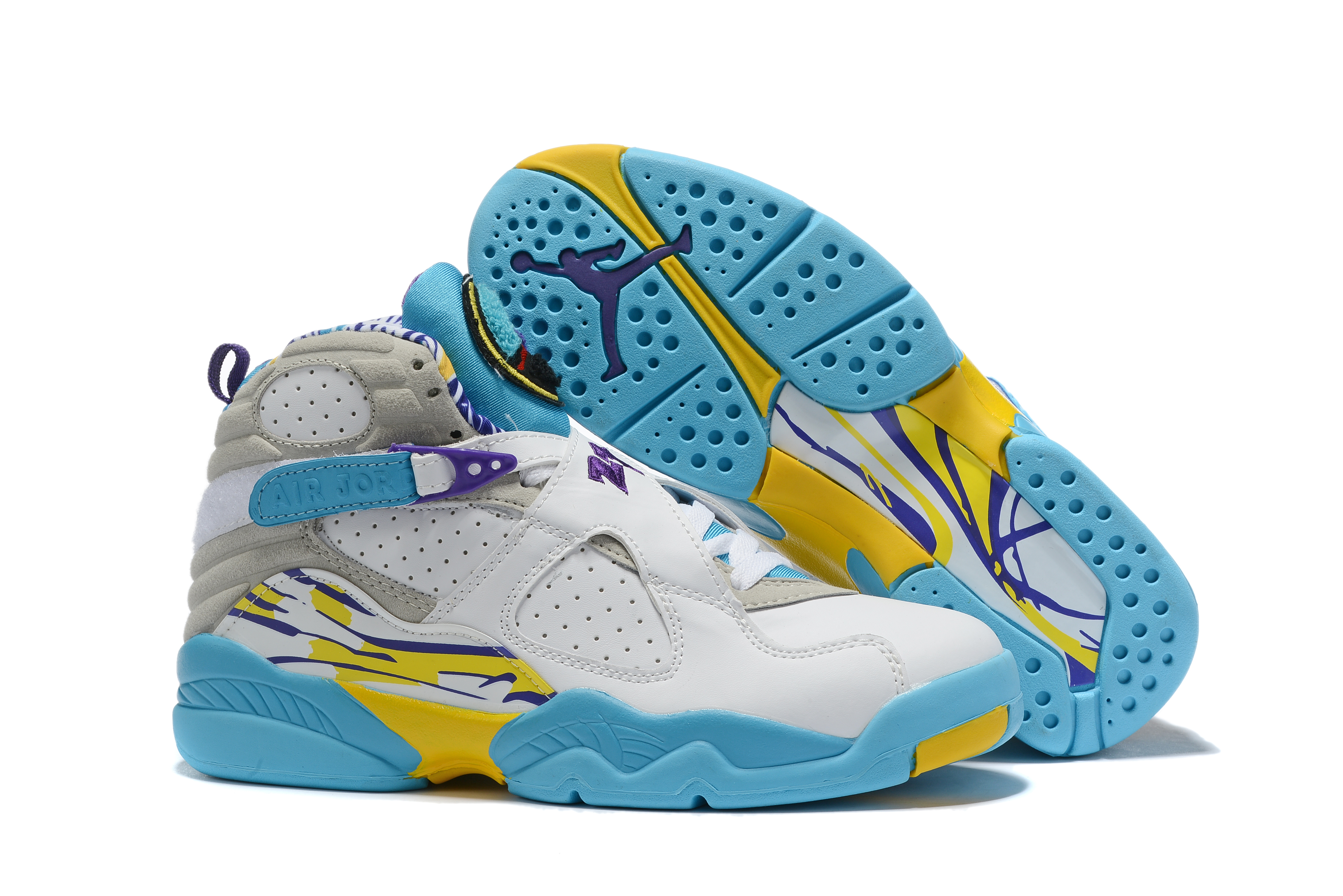 Jordan Shoes 8 White Blue Yellow For Sale